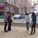 Students playing pétanque